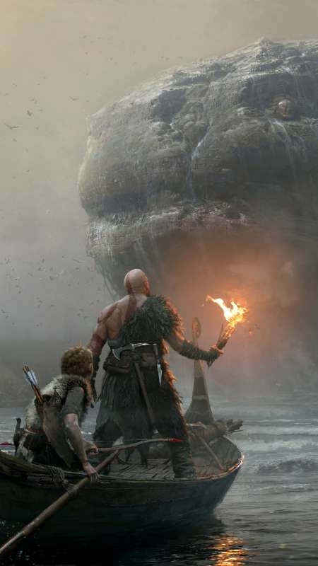 God of War 2017 Handy Vertikal Hintergrundbild